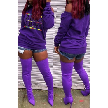Lovely Euramerican Letters Printed Purple Hoodies