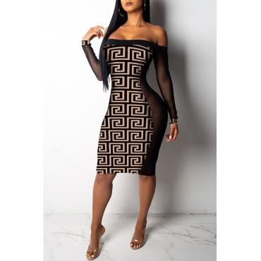 Lovely African Dew Shoulder Brown Knitting Knee Length Dress