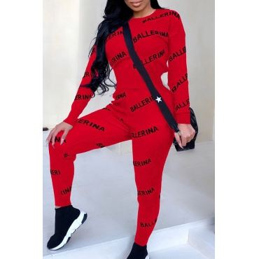Lovely Casual Letters Printed Skinny Red Two-piece Pants Set