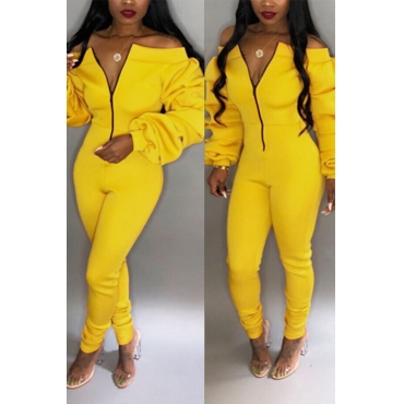 Lovely Trendy Dew Shoulder Skinny Yellow Cotton One-piece Jumpsuit