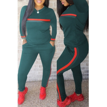 Lovely Casual Striped  Green Blending Two-piece Pants Set
