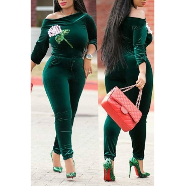 Lovely Casual Dew Shoulder Green Velvet One-piece Jumpsuit