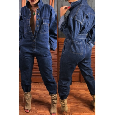 Lovely  Casual Open Front  Loose Deep Blue Denim One-piece Jumpsuit