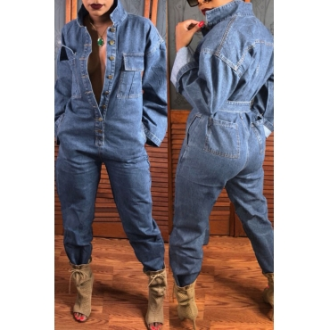 Lovely  Casual Open Front  Loose Light Blue Denim One-piece Jumpsuit
