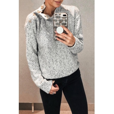 Lovely Casual Shoulder Button On The Opening Grey Sweaters