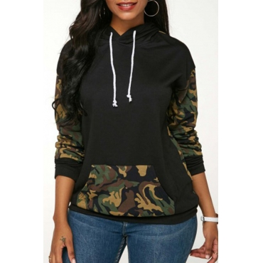 Lovely Casual Camouflage Printed Multicolor Cotton Hoodies