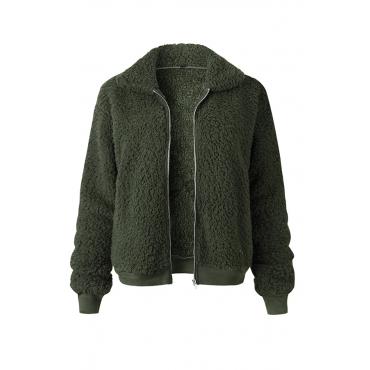 Lovely Euramerican Winter Zipper Design Army Green Jacket