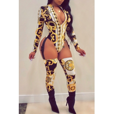 Lovely Qmilch Sexy Print Regular Yes(Elastic) Jumpsuit