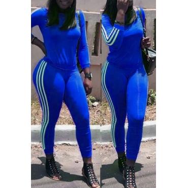 Lovely Euramerican Striped Skinny Blue  Two-piece Pants Set