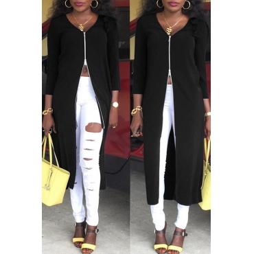 Lovely Euramerican Zipper Design Black Twilled Satin Coat