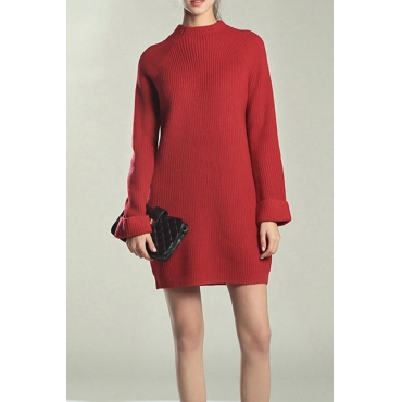 Lovely Euramerican Long Sleeves Red Blending Mini Dress