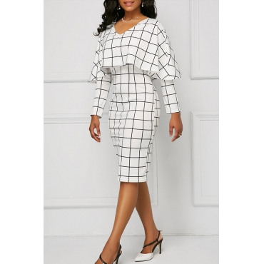 Lovely Euramerican Grids Printed White Knee Length Dress