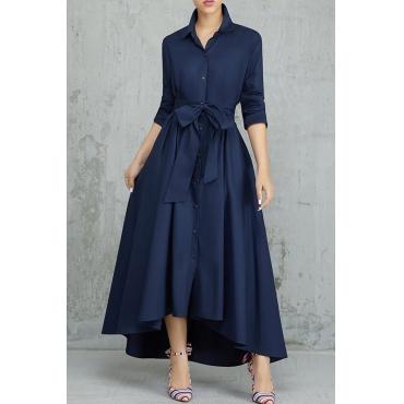 Lovely Elegant Buttons Design Dark Blue Tatting Ankle Length Dress