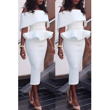 Lovely Elegant Dew Shoulder Pencil White Mid Calf Dress