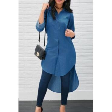 Lovely Euramerican Asymmetrical Blue Cotton Blends Blouses