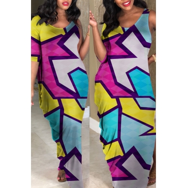 Lovely African Geometric Printed Blue Ankle Length Dress