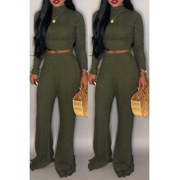 Lovely Chic Long Sleeves Loose Olive Two-piece Pants Set