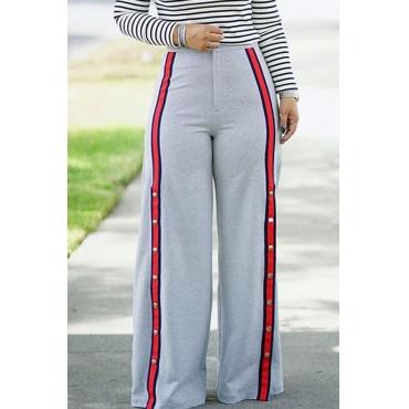 Lovely Euramerican Patchwork Loose Grey Pants