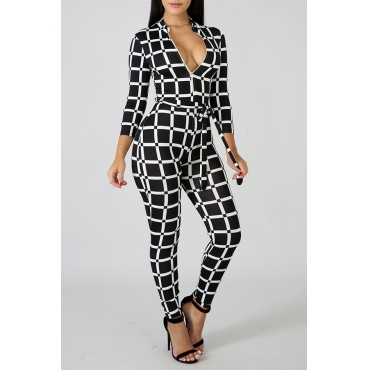 Lovely Euramerican Grids Printed Black & White Tartan Plaid Blending One-piece Jumpsuit