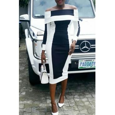 Lovely Temperament  Patchwork Black Knee Length Dress