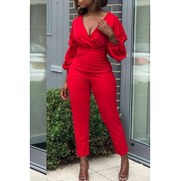 Lovely Euramerican Puffed Sleeves Red Twilled Satin One-piece Jumpsuit