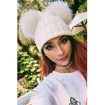 Lovely Euramerican Winter  White Sweater Hats
