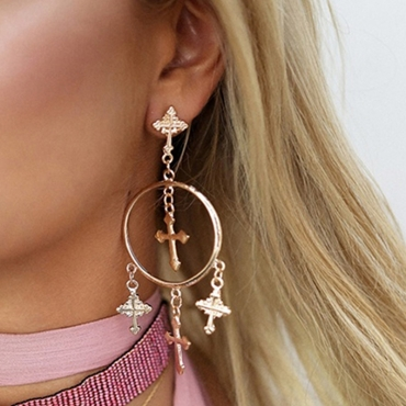 Lovely Euramerican  Cross Design Gold Alloy  Earring