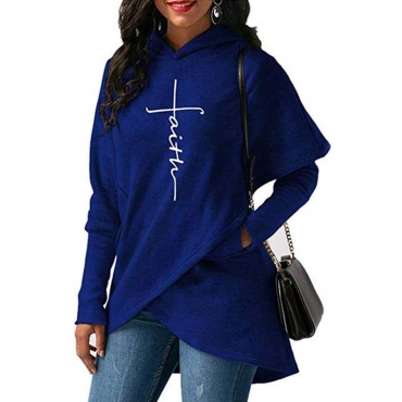 Lovely Trendy Asymmetrical Blue Cotton Hoodies
