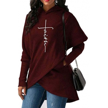 Lovely Trendy Asymmetrical Purplish Red Cotton Hoodies