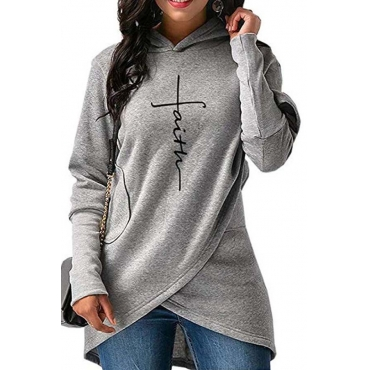 Lovely Trendy Asymmetrical Grey Hoodies