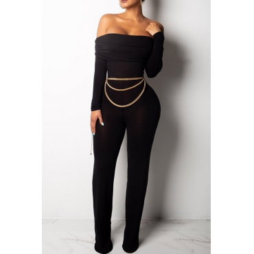 Lovely Sexy Dew Shoulder Black One-piece Jumpsuit(Not Including Accessories)