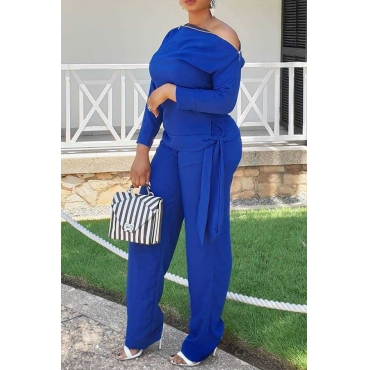 Lovely Chic Loose Blue Twilled Satin Two-piece Pants Set