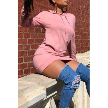 Lovely Casual Hooded Collar Pink Twilled Satin Mini Dress