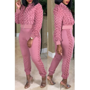 Lovely Casual Patchwork Pink Blending Two-piece Pants Set