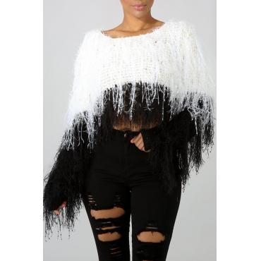 Lovely Sweet Tassel Design Black And White Blending Sweaters