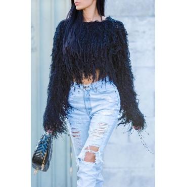 Lovely Sweet Tassel Design Black Blending Sweaters