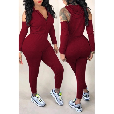 Lovely  Casual Hollowed-out Wine Red  Knitting One-piece Jumpsuit