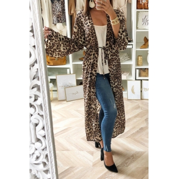 Lovely Casual Leopard Printed  Multicolor Coat