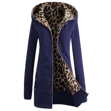 Lovely Casual Long Sleeves Deep Blue Blending Coat