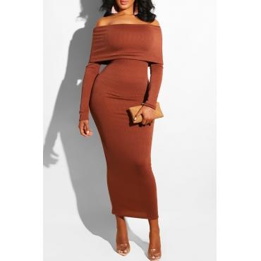 Lovely Chic Dew Shoulder Slim Brown Knitting Ankle Length Dress