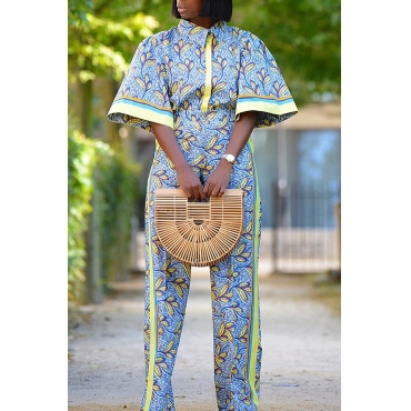 Lovely Casual Printed Multicolor Twilled Satin Two-piece Pants Set