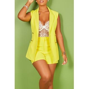 Lovely Euramerican Sleeveless Yellow Two-piece Shorts Set(Without Bra)