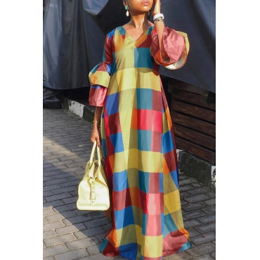 Lovely Trendy Color-lump Patchwork Multicolor Floor Length Dress