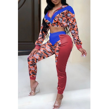Lovely Casual Patchwork Royal Blue Blending Two-piece Pants Set