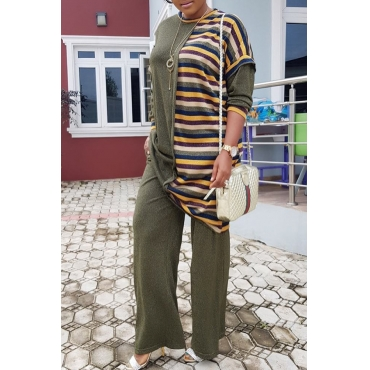 Lovely Casual Patchwork Loose Green Knitting  Two-piece Pants Set