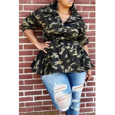 Lovely Trendy Camouflage Printed Army Green Jacket