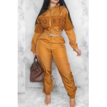 Lovely Trendy Patchwork printed Orange Two-piece Pants Set