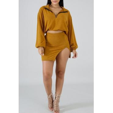 Lovely Trendy Side Slit Brown Two-piece Skirt Set
