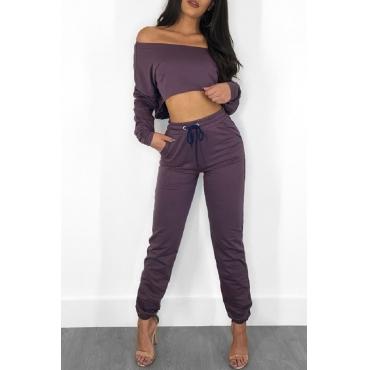 Lovely Casual Dew Shoulder Purple Blending Two-piece Pants Set