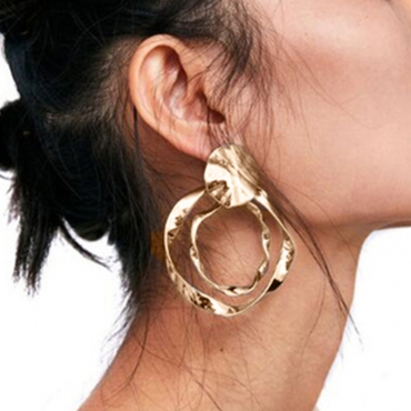 Lovely Fashion Asymmetrical Gold Metal Earring